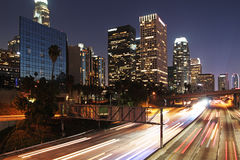 Los angeles. Downtown at night Stock Photos