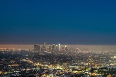 Los Angeles Downtown at night. Beautiful panorama cityscape Royalty Free Stock Images