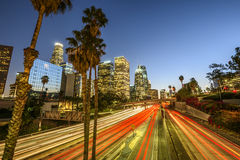 Los Angeles. Downtown Los Angeles at night with light trails Stock Photography