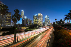 Los Angeles. Downtown Los Angeles at night with light trails Royalty Free Stock Photo