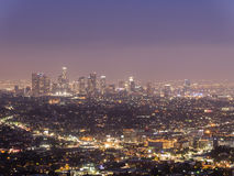 Los Angeles downtown night scene Royalty Free Stock Photography