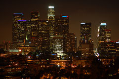 Los Angeles Downtown night skyline Stock Photography