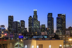 Los Angeles downtown nightscene. Los Angeles, JAN 24: Los Angeles downtown nightscene from 4th street on JAN 24, 2015 at Los Angeles, California Stock Images
