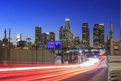 Los Angeles downtown nightscene. Los Angeles, JAN 24: Los Angeles downtown nightscene from 4th street on JAN 24, 2015 at Los Angeles, California Stock Image