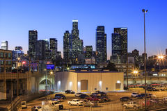 Los Angeles downtown nightscene. From 4th street Royalty Free Stock Image