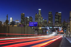 Los Angeles downtown nightscene. From 4th street Royalty Free Stock Photography