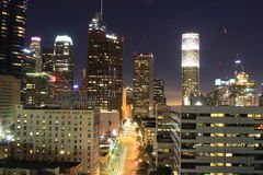 Los Angeles Downtown. Nightw view Stock Photos