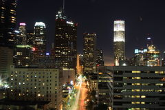 Los Angeles Downtown. Nigt view from 13th floor Stock Photo