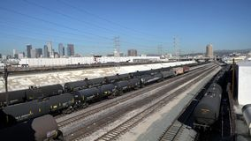 Los Angeles downtown and oil tank train. At Los Angeles, California, United States stock video