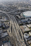 Los Angeles Downtown Santa Monica Freeway Aerial Stock Photography