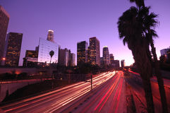 Los Angeles downtown skyline. Los Angeles downtown traffic and skyline stock images