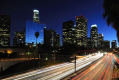 Los Angeles downtown skyline. At night Stock Photos