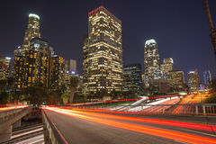 Los Angeles downtown skyline. Buildings and highway traffic stock photos