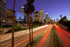 Los Angeles downtown skyline. Buildings and highway traffic royalty free stock images