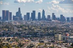 Los Angeles Downtown Skyline. Los Angeles, CA: March 14, 2018: Los Angeles skyline from the Griffith Park Observatory. Los Angeles is the United States`s second Stock Image