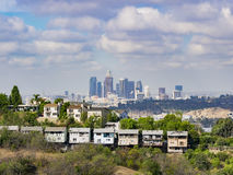 Los Angeles downtown skyline. From Ernest E. Debs Regional Park stock image