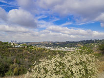 Los Angeles downtown skyline. From Ernest E. Debs Regional Park royalty free stock image