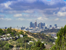 Los Angeles downtown skyline. From Ernest E. Debs Regional Park stock photos