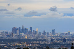 Los Angeles downtown skyline from Getty View Park. Sunset view of Los Angeles downtown skyline from Getty View Park, California stock photos