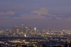 Los Angeles downtown skyline from Getty View Park. Twilight view of Los Angeles downtown skyline from Getty View Park, California royalty free stock photos
