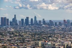 Los Angeles Downtown Skyline. Los Angeles, CA: March 14, 2018: Los Angeles skyline from the Griffith Park Observatory. Los Angeles is the United States`s second Royalty Free Stock Photos