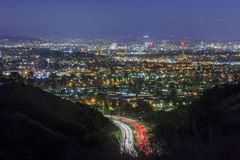 Los Angeles downtown skyline. Near Culver City, Hollywood at night stock photography