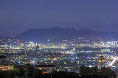 Los Angeles downtown skyline. Near Culver City, Hollywood at night stock photo