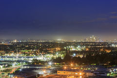 Los Angeles downtown skyline. Night view of Los Angeles downtown skyline from Baldwin Hills Scenic Overlook royalty free stock photo