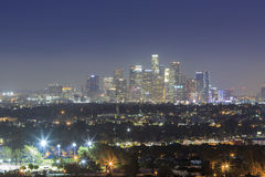 Los Angeles downtown skyline. Night view of Los Angeles downtown skyline from Baldwin Hills Scenic Overlook royalty free stock photos