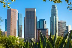 Los Angeles downtown skyline, skyscrapers in the city center, California, USA.  royalty free stock image