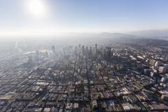 Los Angeles Downtown Smog and Sun Stock Photo