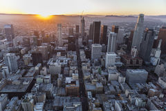 Los Angeles Downtown Sunset Aerial Stock Photography