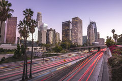 Los Angeles. Downtown Los Angeles at sunset with light trails Royalty Free Stock Photo