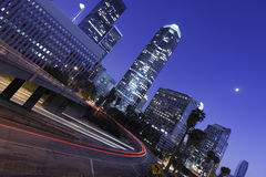 Los Angeles downtown under the moonlight Royalty Free Stock Image