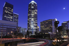 Los Angeles downtown under the moonlight Royalty Free Stock Photos