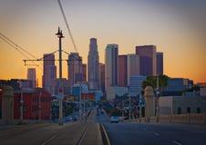 Los Angeles du centre au coucher du soleil de l'est Photographie stock