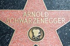 Los Angeles, los E.E.U.U. - abril de 2018: Estrella de Arnold Schwarzenegger en el bulevar de la calle de Hollywood en Los Angele imágenes de archivo libres de regalías