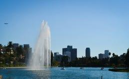 Los Angeles Echo Park med en vattenfall arkivbilder