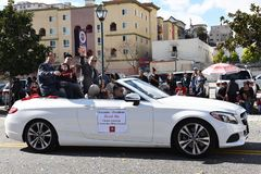 Derek Ma President of the Chinese American Community Affairs Council rides in the Chinese New Year Parade stock photo