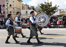 Drummers from the Pasadena Scots march and play in the Los Angeles Chinese New Year Parade royalty free stock images