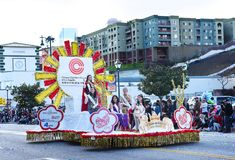 Float carrying the Quuen and Her Court at the Los Angelse Chinese New Year Parade royalty free stock images