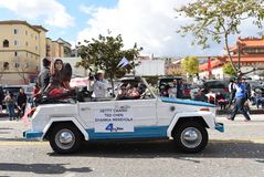 Hetty Chang a local TV news personality rides in the Los Angeles Chinese New Year Parade royalty free stock image