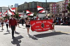 Mark Keppel High School Marching Band at the Los Angeles Chinese New Year Parade stock images