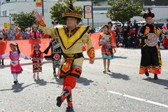 Thai performers in traditional costume at the Los Angeles Chinese New Year Parade royalty free stock photography