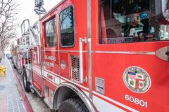 Los Angeles Fire Department Car in downtown - CALIFORNIA, USA - MARCH 18, 2019. Los Angeles Fire Department Car in downtown - CALIFORNIA, UNITED STATES - MARCH stock photo