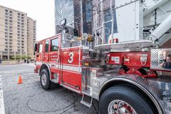 Los Angeles Fire Department Car in downtown - CALIFORNIA, USA - MARCH 18, 2019. Los Angeles Fire Department Car in downtown - CALIFORNIA, UNITED STATES - MARCH royalty free stock images