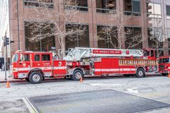 Los Angeles Fire Department Car in downtown - CALIFORNIA, USA - MARCH 18, 2019. Los Angeles Fire Department Car in downtown - CALIFORNIA, UNITED STATES - MARCH stock photography