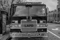 Los Angeles Fire Department Car in downtown - CALIFORNIA, USA - MARCH 18, 2019. Los Angeles Fire Department Car in downtown - CALIFORNIA, UNITED STATES - MARCH stock images