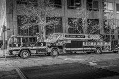 Los Angeles Fire Department Car in downtown - CALIFORNIA, USA - MARCH 18, 2019. Los Angeles Fire Department Car in downtown - CALIFORNIA, UNITED STATES - MARCH royalty free stock photos