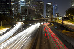 Los angeles freeway. View of downtown los angeles and freeways at night Stock Images